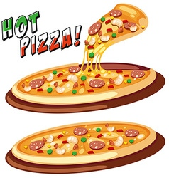 Two trays of Italian pizza vector image vector image
