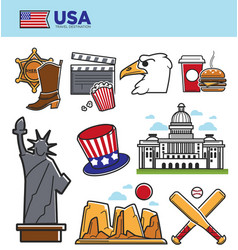 usa america travel landmarks symbols and american vector image