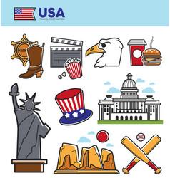 usa america travel landmarks symbols and american vector image vector image