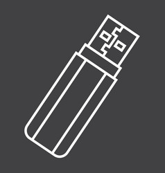 Usb flash drive line icon device and hardware vector