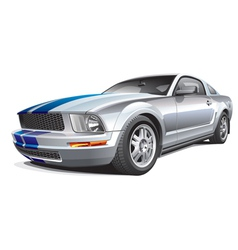silver muscle car vector image