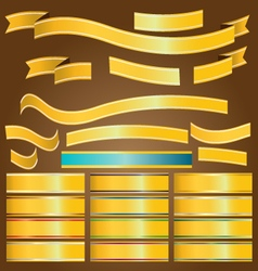 Gold ribbon banners vector