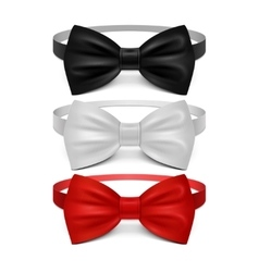 Realistic white black and red bow tie set vector