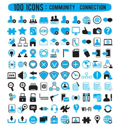 100 icons - community connection vector