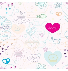 Summer pattern with red hearts vector