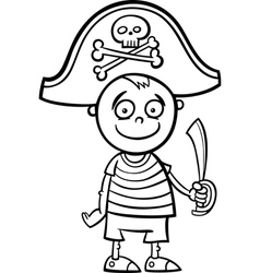 Boy in pirate costume coloring page vector