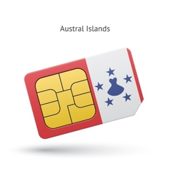 Austral islands mobile phone sim card with flag vector