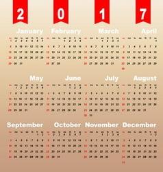 2017 calendar on brown gradient background vector image vector image