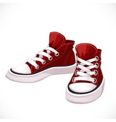 Red sports sneakers with white laces vector