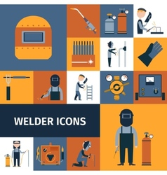 Welder icons set vector