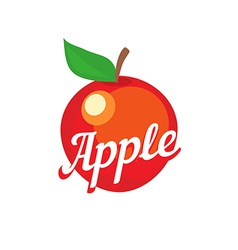 Red apple with caption vector