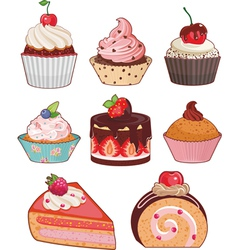 Appetizing cakes vector