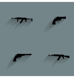 Weapon Silhouette Icons vector image