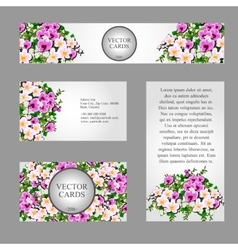 Four cards with white and pink field flowers vector