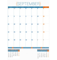 Calendar planner 2016 design template september vector