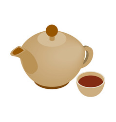 Teapot and cup isometric icon vector