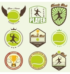 Various stylized tennis icons vector