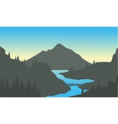 River in the mountain of silhouette vector