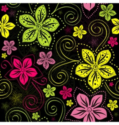 Seamless floral dark pattern vector