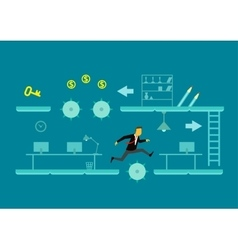 The game of business a man jumps over obstacles vector