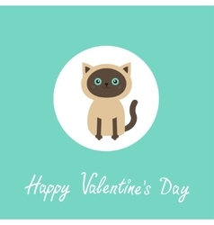 Happy valentines day siamese cat round circle vector