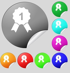 award medal icon sign Set of eight multi colored vector image