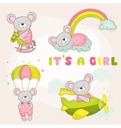 Baby mouse set - baby shower or arrival card vector