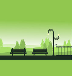 Beauty landscape garden with chair and street lamp vector