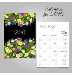 Calendar for 2016 with images of wildflowers vector