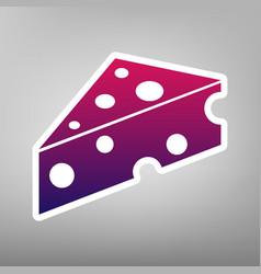 Cheese maasdam sign purple gradient icon vector