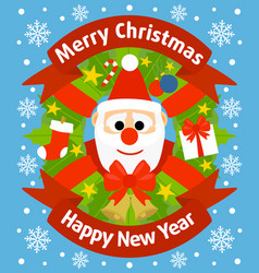 christmas and new year background card with santa vector image vector image