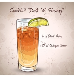 Cocktail dark and stormy vector