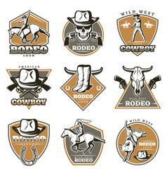 Colorful vintage rodeo labels set vector