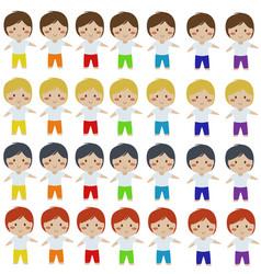Cute colorful boy cartoon clipart vector