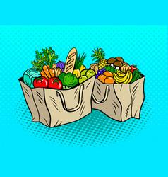 Eco food in paper bags pop art vector