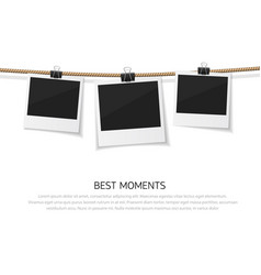Enjoy every moment set of polaroid photo vector