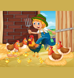 Farmer and chickens in the barn vector