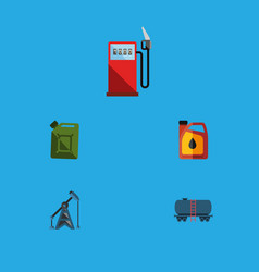 Flat icon fuel set of jerrycan fuel canister rig vector