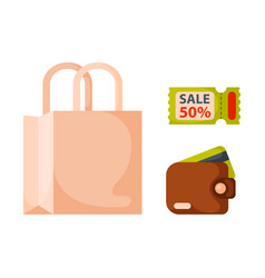 Flat money wallet icon paper bag sale making vector