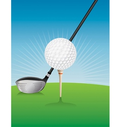 Golf Ball Teed and Driver vector image vector image