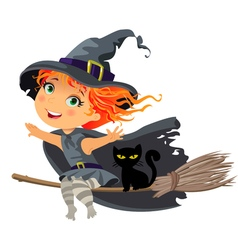 Happy Halloween Little witch flying on a broom vector image vector image