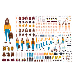 hipster girl creation kit set of flat female vector image vector image