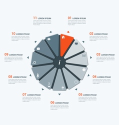 infographic temlate with hendecagon 11 options vector image vector image