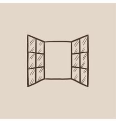 Open windows sketch icon vector