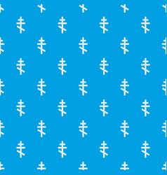 Orthodox cross pattern seamless blue vector