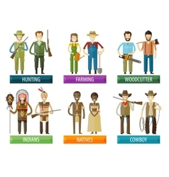 People logo design template farmer hunter vector