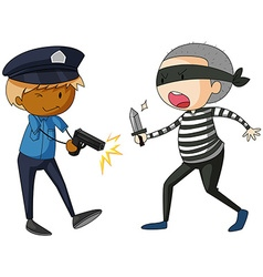 Policeman with gun and robber with knife vector