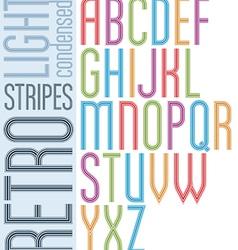 Poster retro striped font bright condensed vector