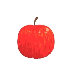 Red isolated apple funky hand drawn fresh fruit vector
