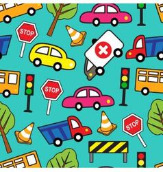 seamless pattern with cars and traffic signs vector image